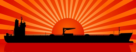 tanker ship: Silhouette of tanker and sunset at sea Illustration