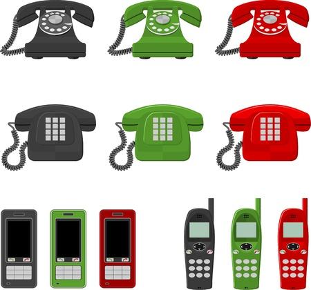 telephone call: set of twelve phones, isolated on white