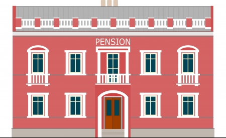 cartoon building: building with a small pension, isolated on white