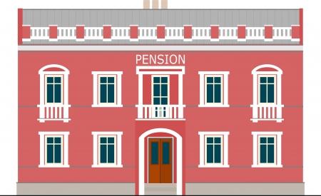 pensioen: gebouw met een klein pensioen, geïsoleerd op wit