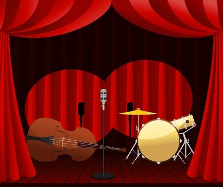 drum kit: stage for Jazz show Illustration