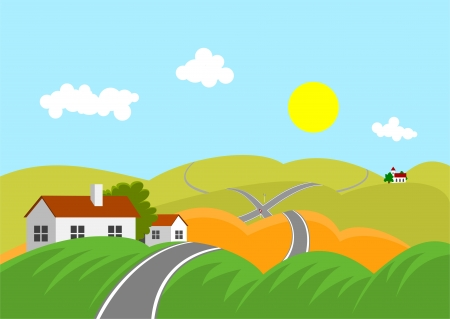 mountainous: Summer mountainous landscape with road and intersection Illustration