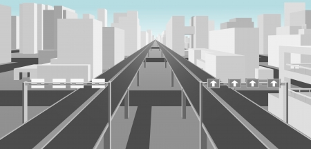 highway sign: highways and roads in a modern city