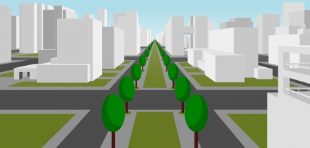 avenue: street in a modern city Illustration