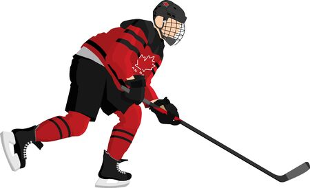 Canada Hockey Player In Red Dress On White Background 일러스트
