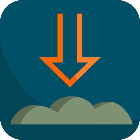 Night Atmospheric Pressure, Simple Icon With Dark Blue Background Banco de Imagens