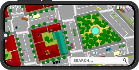 City Streets, Map In Mobile Phone, Cartoon Illustrations