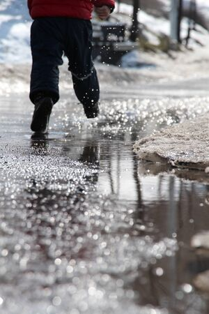 water,legs,boots,blue trousers,red jacket,dripped,reflection,hides snow