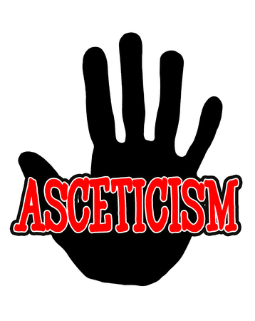 Man handprint isolated on white background showing stop asceticism Stock Photo