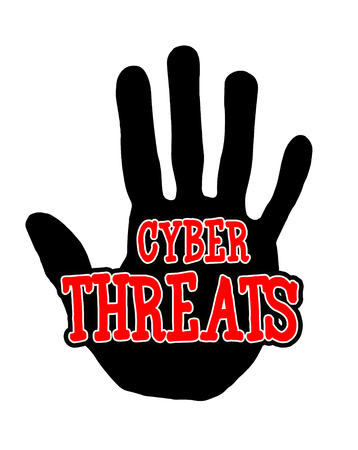 Man handprint isolated on white background showing stop cyber threats