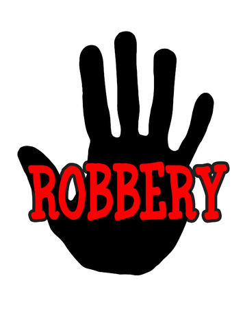 harass: Man handprint isolated on white background showing stop robbery