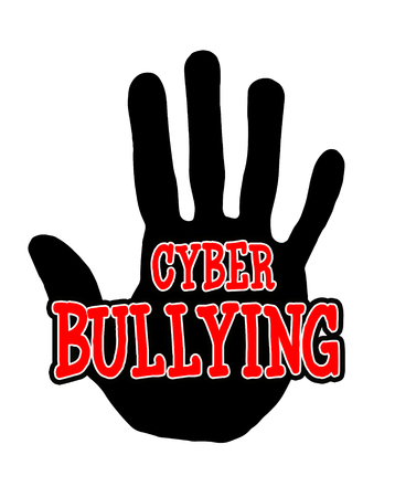 Man handprint isolated on white background showing stop cyberbullying Stock Photo