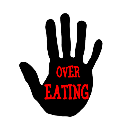 Man handprint isolated on white background showing stop over eating
