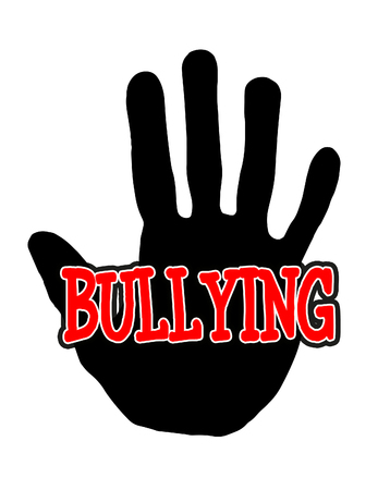 Man handprint isolated on white background showing stop bullying