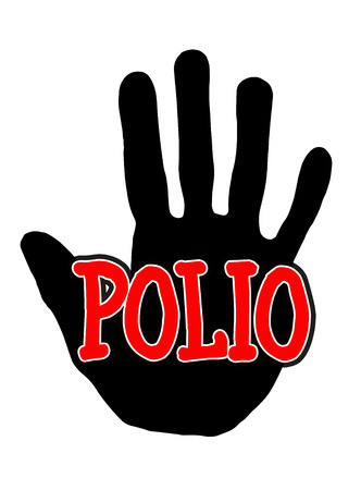 Man handprint isolated on white background showing stop polio Stock Photo