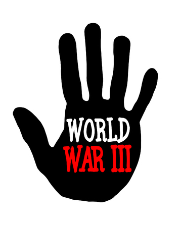 trump: Man handprint isolated on white background showing stop world war III