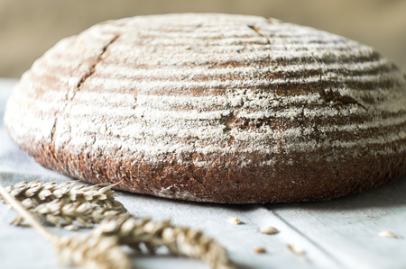 Tasty rustic sourdough bread on a kitchen towel