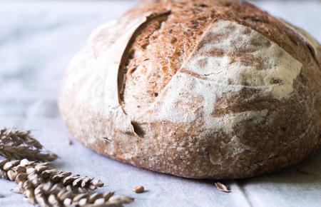 Close-up of fresh sourdough artisan bread on kitchen towel Standard-Bild