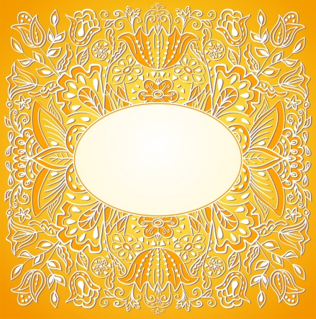Summer orange invitation card with floral ornament  Template frame design for card  Can be used for packaging,invitations, bag template, background