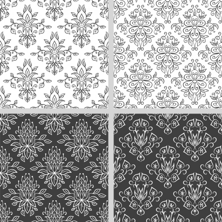 Seamless abstract damask pattern  Seamless pattern can be used for wallpaper, pattern fills, web page background,surface textures, wraping paper  Floral textile background Illustration