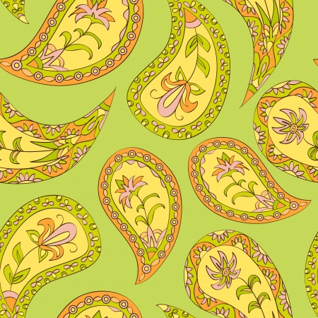 Summer paisley floral textile pattern  Seamless pattern can be used for wallpaper, fabrics, paper craft projects, web page background,surface textures  Abstract textile floral background Stock Vector - 19959706
