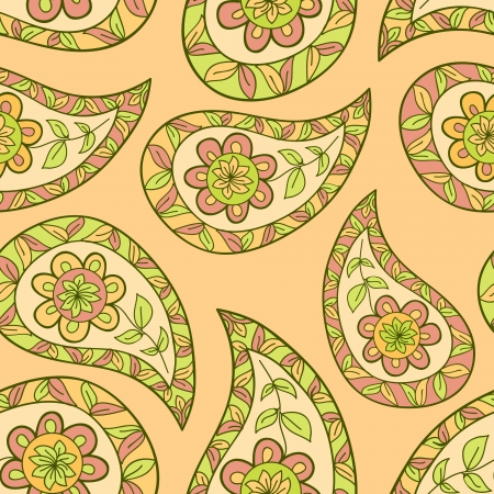 Paisley floral textile pattern  Seamless pattern can be used for wallpaper, fabrics, paper craft projects, web page background,surface textures  Abstract textile floral background Illustration