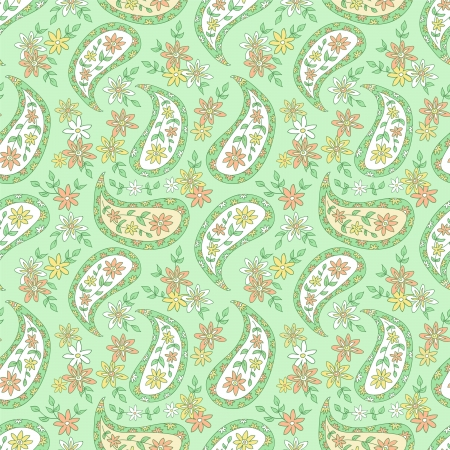 Summer green paisley floral textile pattern  Seamless pattern can be used for wallpaper, fabrics, paper craft projects, web page background,surface textures  Abstract vintage seamless background