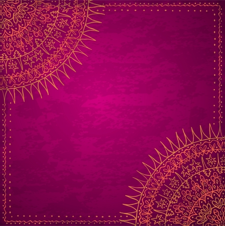 Ornamental round lace pattern, circle background with many details, looks like crocheting handmade lace on grunge background, lacy arabesque designs  Vintage card template Illustration