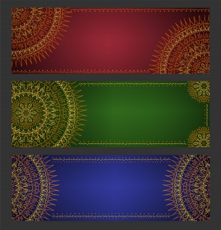 Abstract ethnic banners with lace ornament