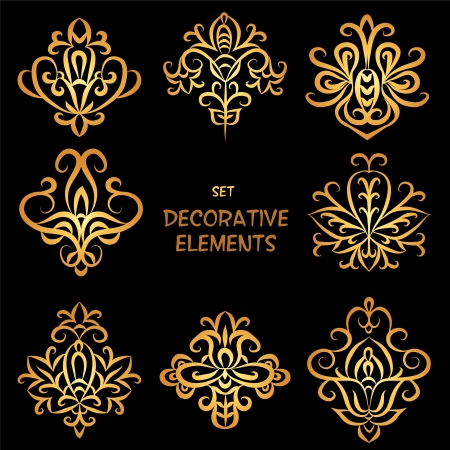 Golden decorative floral elements. Can be used for backgrounds, packaging, invitations,vintage cards, wrapping paper. Vintage design elements