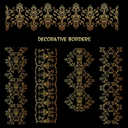 Golden decorative floral elements  Vintage design elements