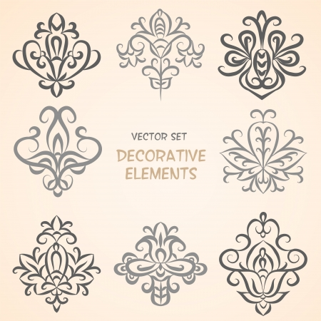 Decorative ethnic floral elements  Can be used for backgrounds, packaging, invitations,vintage cards, wrapping paper  Vintage design elements Stock Photo