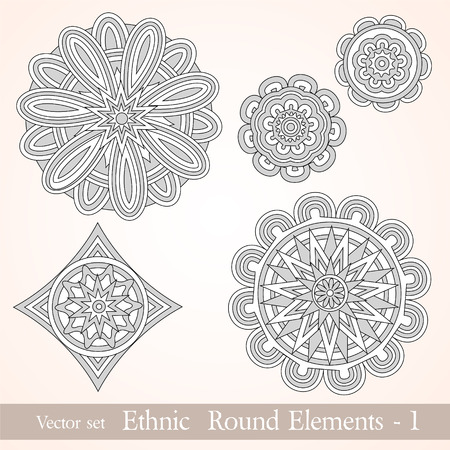 Decorative ethnic round elements  Can be used for backgrounds, packaging, invitations,vintage cards, wrapping paper  Ethnical vintage design elements