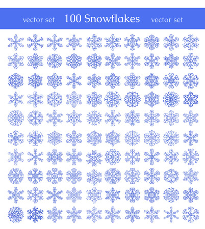 Isolated snowflakes on white background  Winter decorative elements  Can be used for backgrounds, packaging, invitations,cards, wrapping paper