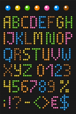 Colorful beaded english alphabet with numbers and symbols  Vector set  Uppercase letters