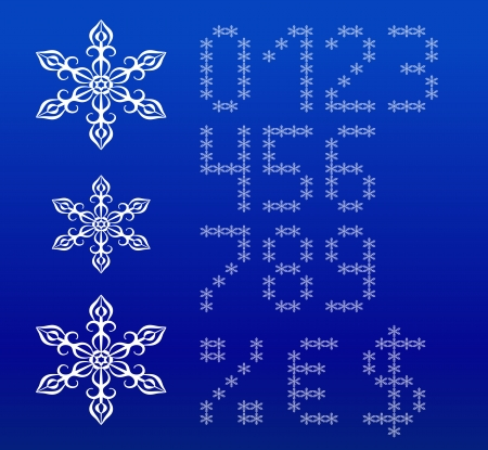 Winter white english alphabet with snowflakes  Vector set  Uppercase letters and symbols