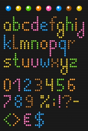Colorful beaded english alphabet with numbers and symbols  Vector set  Lowercase letters Illustration