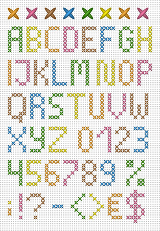 Colorful cross stitch uppercase english alphabet with numbers and symbols  Vector set