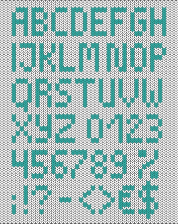 Knitted uppercase english alphabet with numbers and symbols. Vector set. Isolated on white knitting texture Illustration