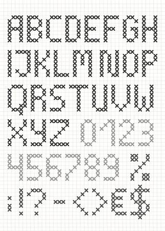 Cross stitch english alphabet with numbers and symbols. Upper case letters