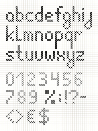 Cross stitch english alphabet with numbers and symbols. Lower case letters