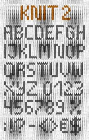 Knitted uppercase english alphabet with numbers and symbols  Vector set  Isolated on white knitting texture Illustration
