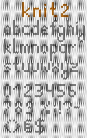 Knitted lowercase english alphabet with numbers and symbols  Vector set  Isolated on white knitting texture Illustration