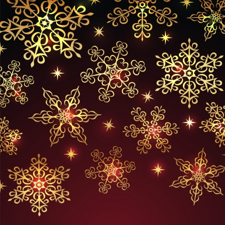 Holiday winter background with golden snowflakes