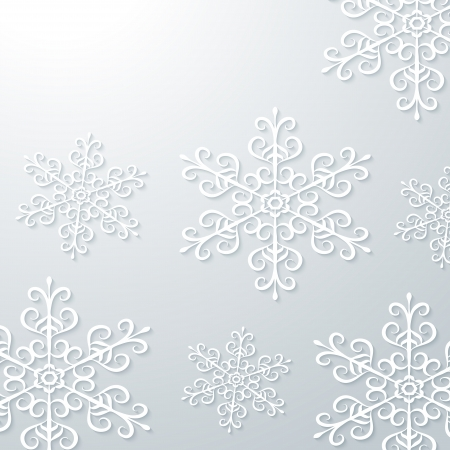 Light grey winter background with snowflakes