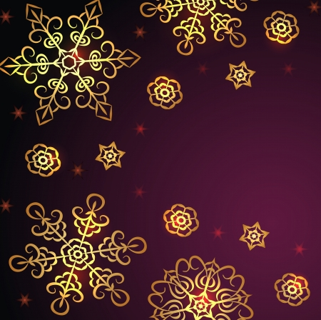 Ethnic winter background with golden snowflakes