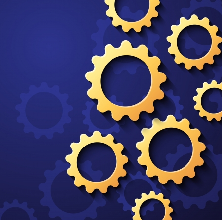 Abstract technology background with golden screw nuts Illustration