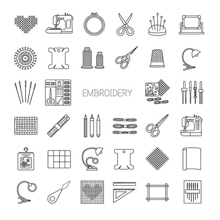 cross stitch: Needlework line icons set. Cross stitch supplies and accessories.Embroidery kit, needle, thread, scissors, cloth, embroidery machine, pin, pattern. Vector illustration.