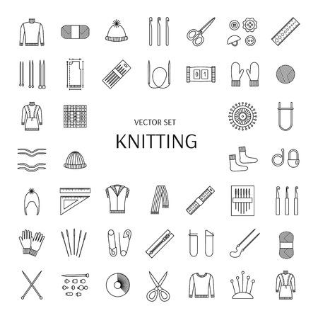 Knitting line icons set. Knitting supplies and accessories. Needle, crochet, woolen yarn, hook,  scissors, pattern. Knitwear, pullover, comforter; scarf, jacket; mitten; sock. Vector illustration.