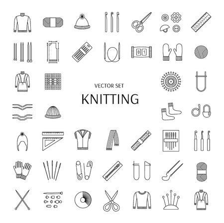 Knitting line icons set. Knitting supplies and accessories. Needle, crochet, woolen yarn, hook,  scissors, pattern. Knitwear, pullover, comforter; scarf, jacket; mitten; sock. Vector illustration.